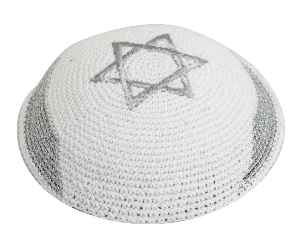 C 17 Cm Knitted Kippah Star Of David Silver