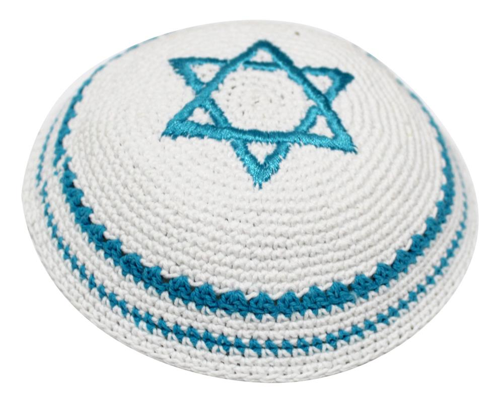 Knitted Kippah 17 Cm-   White With Turquoise Star Of David  Embroidery And Stripes Around