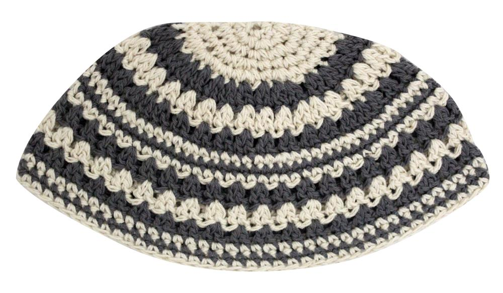 Frik Kippah 21 Cm- Thick Knitted- Gray And Beige Striped Design