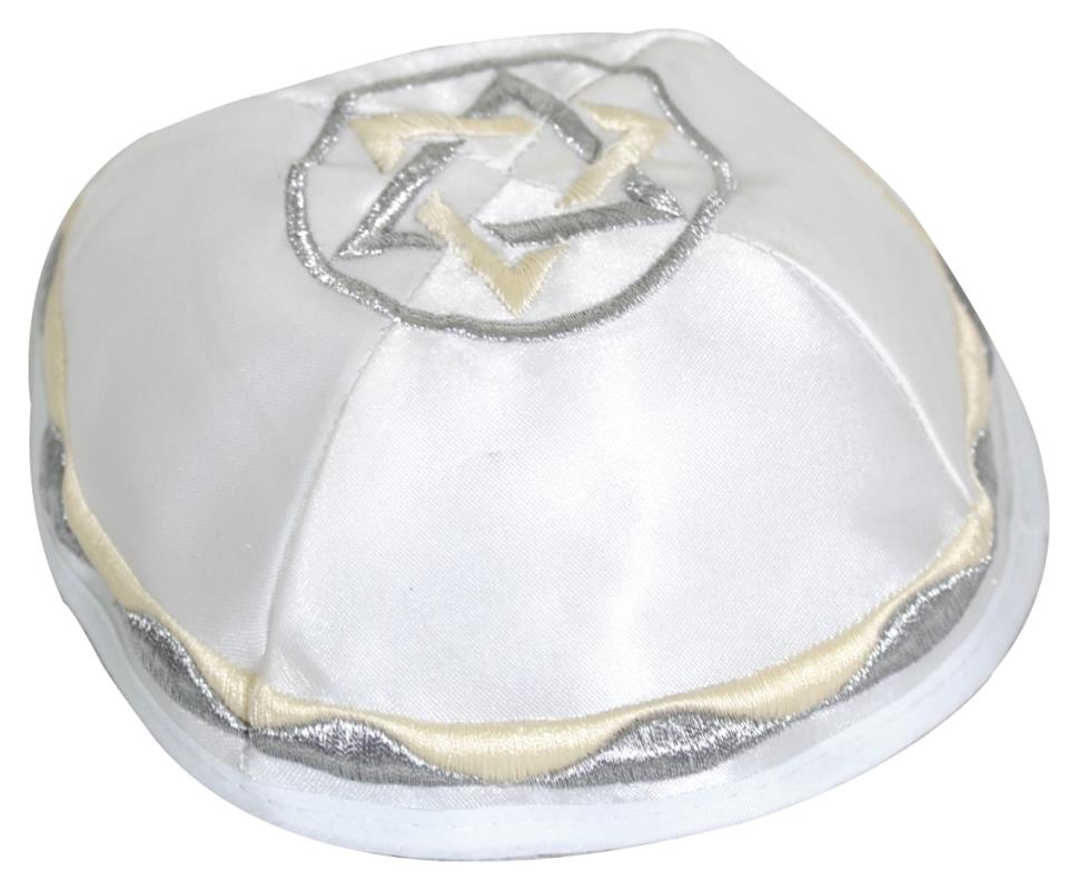 White Satin Kippah 20 Cm- Off White With Silver Star Of David Embroidery
