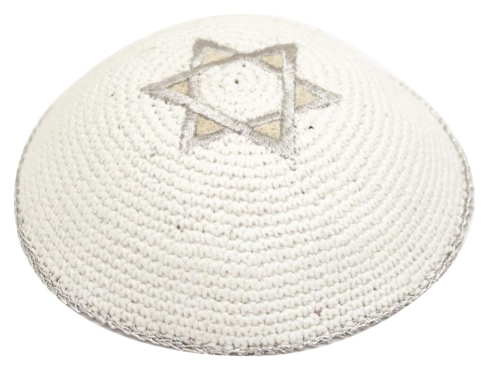 Knitted Kippah 17 Cm- With Gold And Silver Star Of David