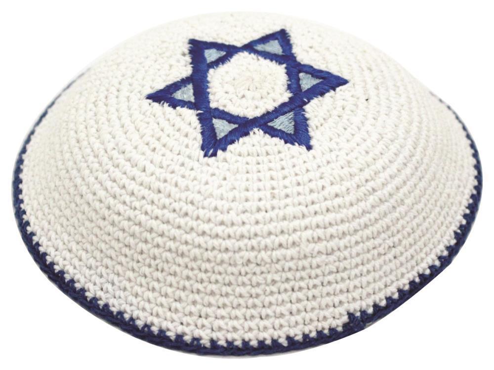 Knitted Kippah 17cm- Star Of David