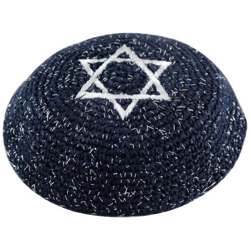 C Knitted Kippah 17 Cm- Silver Netazim With Magen David