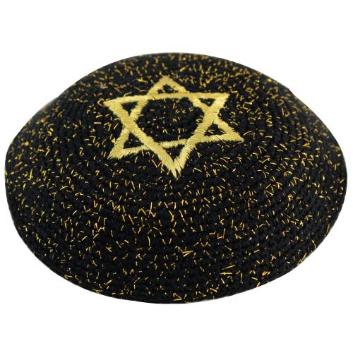 C Knitted Kippah 17 Cm- Gold Netazim With Magen David