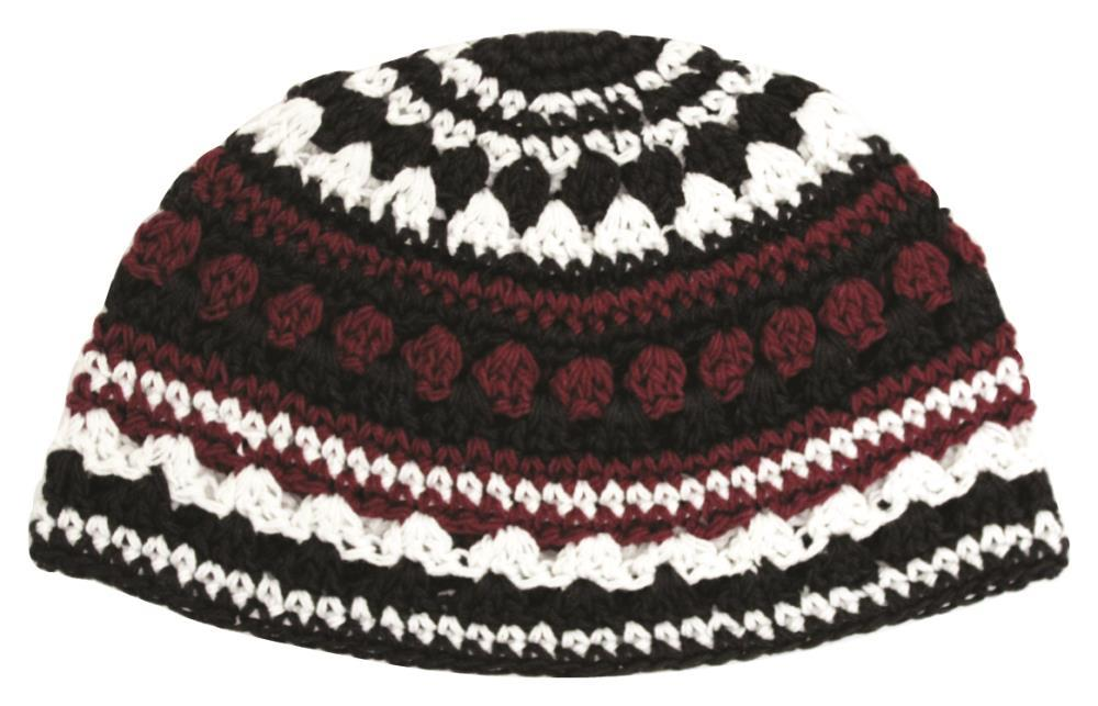 Frik Kippah 21 Cm- Bordeaux-black-white Striped Design