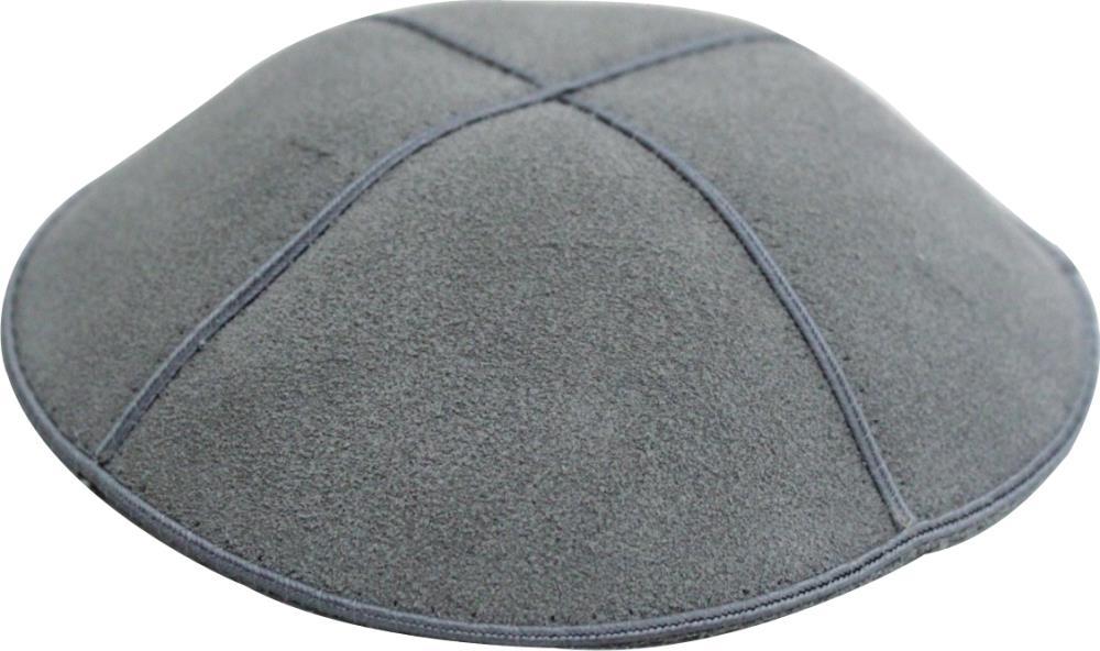 Suede Kippah 14 Cm- Gray