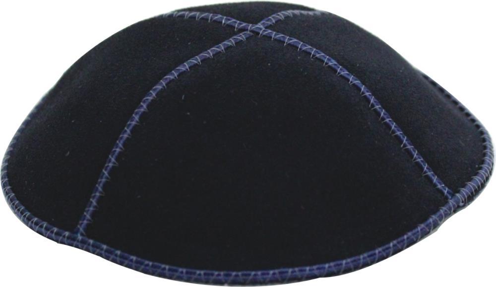 Suede Kippah 16 Cm- Navy Blue