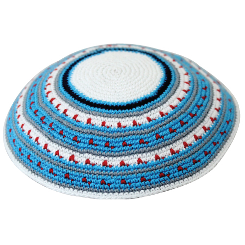 D.m.c Kippah 15cm- White With Blue And Gray