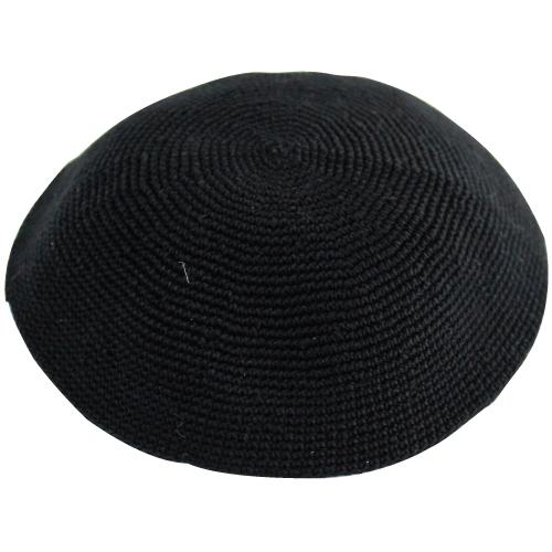 Handmade Knitted Kippah 17 Cm- Black Fine Knit