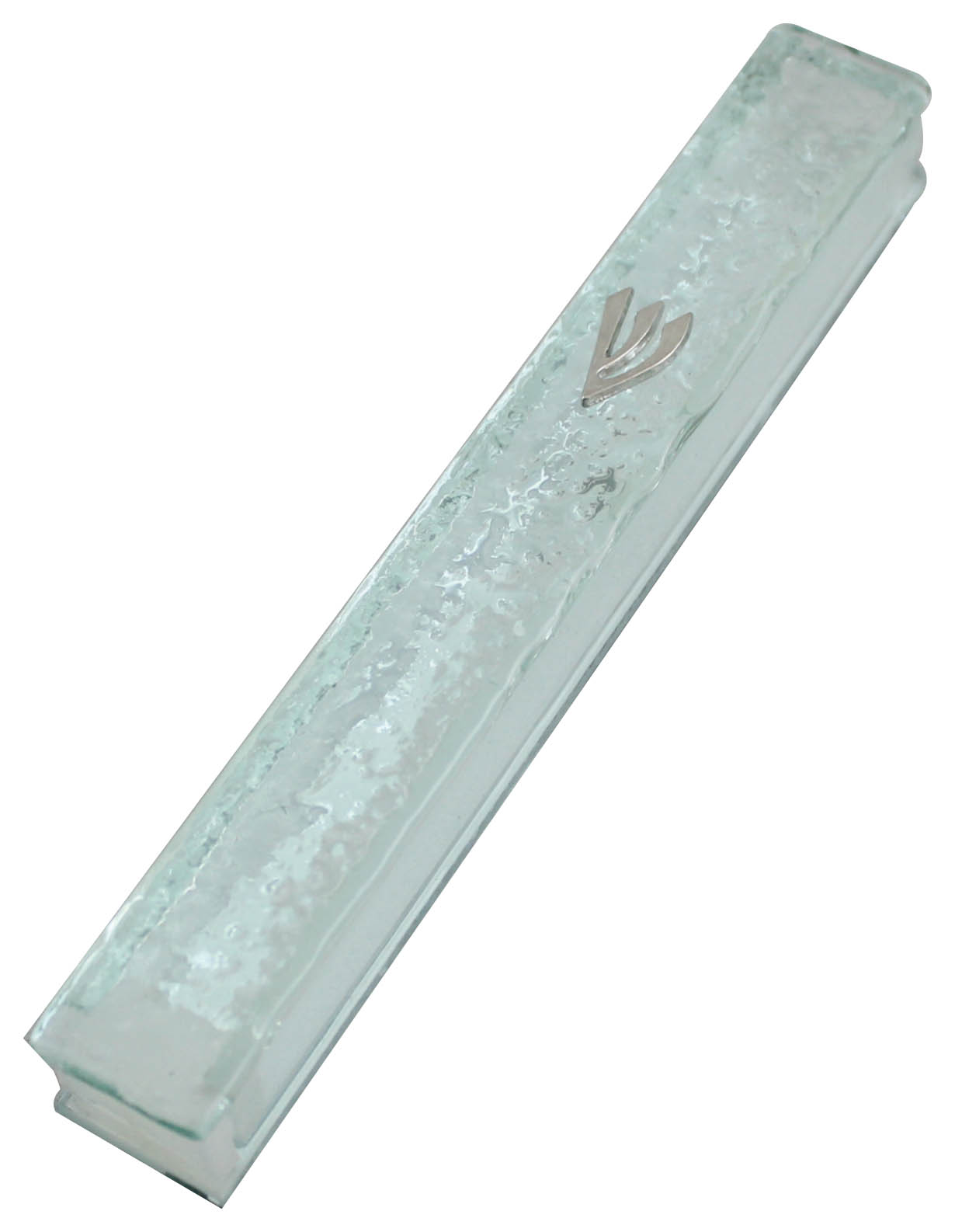 "Glass Mezuzah With Silicon Cork 10cm- ""shattered Glass"" Design"