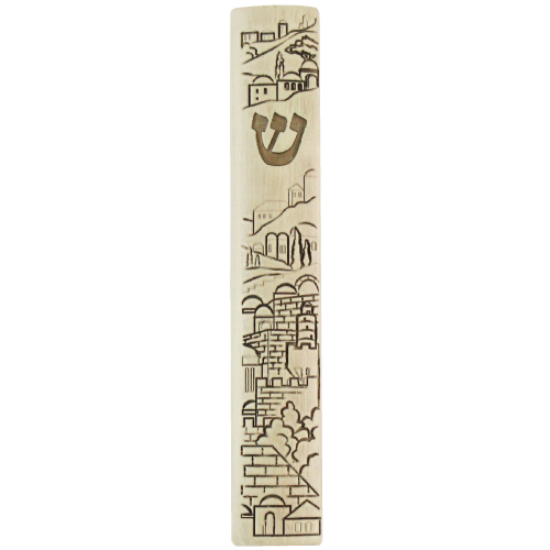 Polyresin Mezuzah With Silicon Seal 7cm- Stone Design In Jerusalem Motif