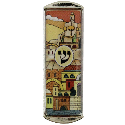 "Nickel And Epoxy Mezuzah For Car 5cm-""jerusalem"" Shades Of Brown"