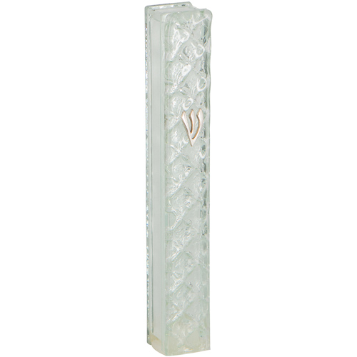 "Glass Mezuzah With Silicon Cork 12 Cm- With ""diamonds"" Design"