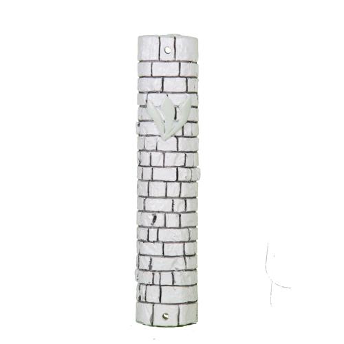 """White Stone - Like Polyresin Mezuzah 15 Cm - """"kotel Stones"""" Design With Silicon Cork"""