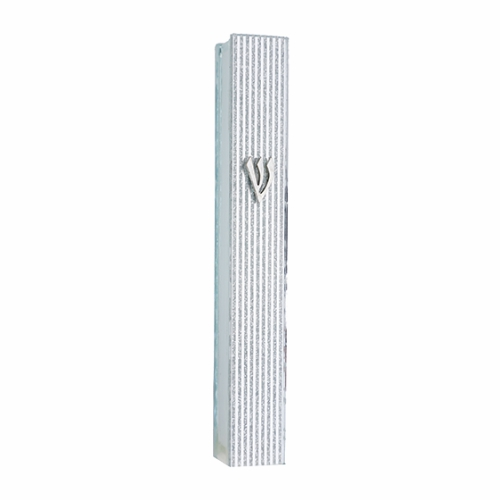 "Glass Mezuzah With Silicon Seal 12cm -striped Design- Metal ""shin"""