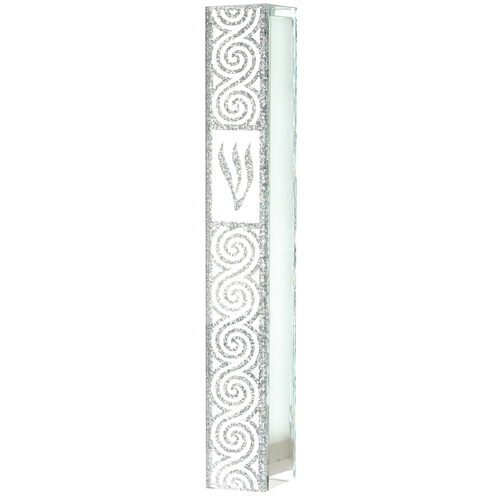Glass Mezuzah With Silicon Seal 12cm- - With Ornate Design