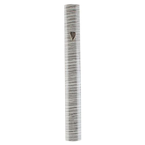Aluminium Mezuzah 10cm- 3d Painted Gray Stripes