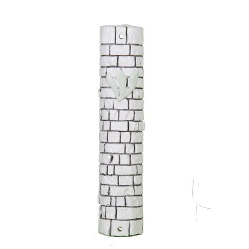 Polyresin Stone-like Mezuzah 12 Cm- White With Kotel Stones Design With Silicon Cork