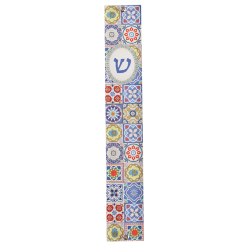 Perspex Mezuzah 10cm With Multicolored Mosaic Print