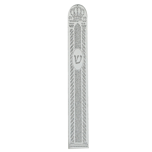 Glass Mezuzah With Silicon Seal 12cm - Crown Motif In Silver