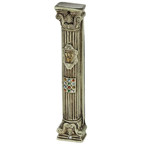 "Beige & Brown Polyresin Mezuzah 12 Cm- Column Shape ""chosen"" Design With Stones"