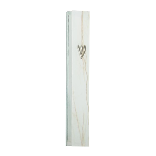 Glass Mezuzah 12cm- White And Gray