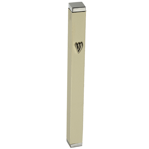 Aluminum Thin Mezuzah 10 Cm With Stoppers- White Matt