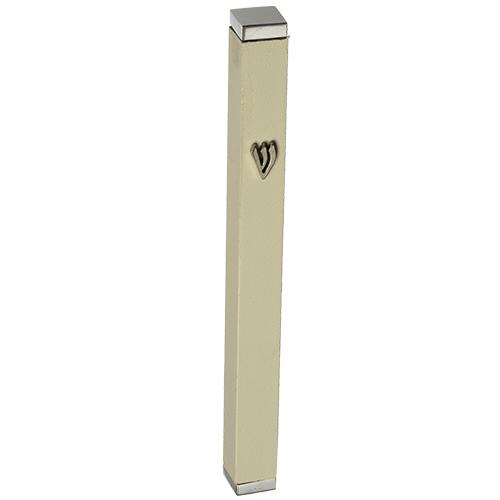 Aluminum Thin Mezuzah 12 Cm With Stoppers- White Matt