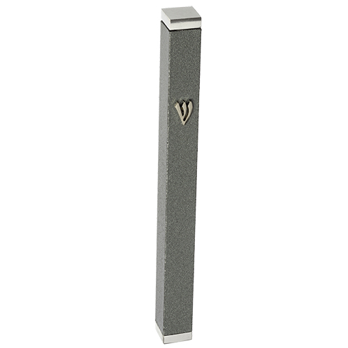 Aluminum Thin Mezuzah 10 Cm With Stoppers- Dark Gray