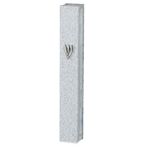 "Glitter Glass Mezuzah With Silicon Cork 12 Cm - With Silver ""shin"""
