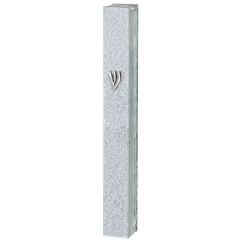 "Glitter Glass Mezuzah With Silicon Cork 15 Cm - With Silver ""shin"""