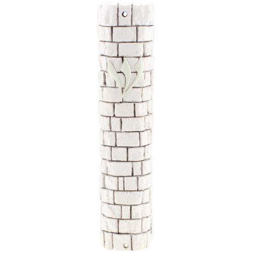 "Brown Stone - Like Polyresin Mezuzah 15 Cm- ""kotel Stones"" Design With Silicon Cork"