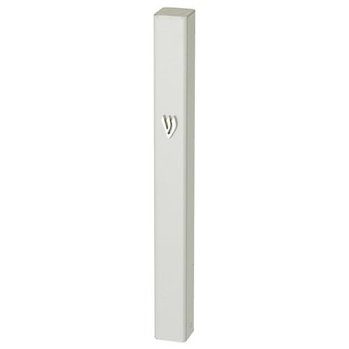 Aluminum Mezuzah 12 Cm- White