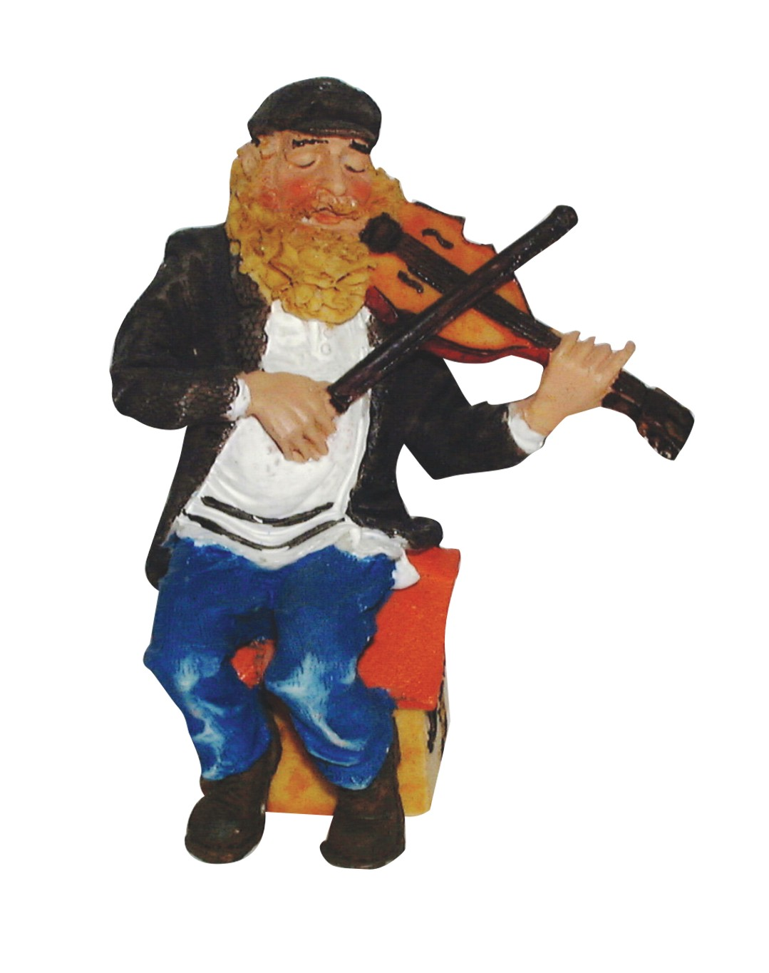 "Black Polyresin Sits Hassidic Figurine 10 Cm - ""fiddler On The Roof"""