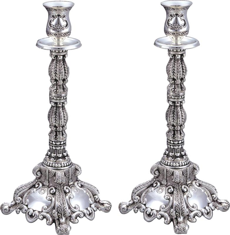 Silver Candlesticks 35cm- Shabbat Theme