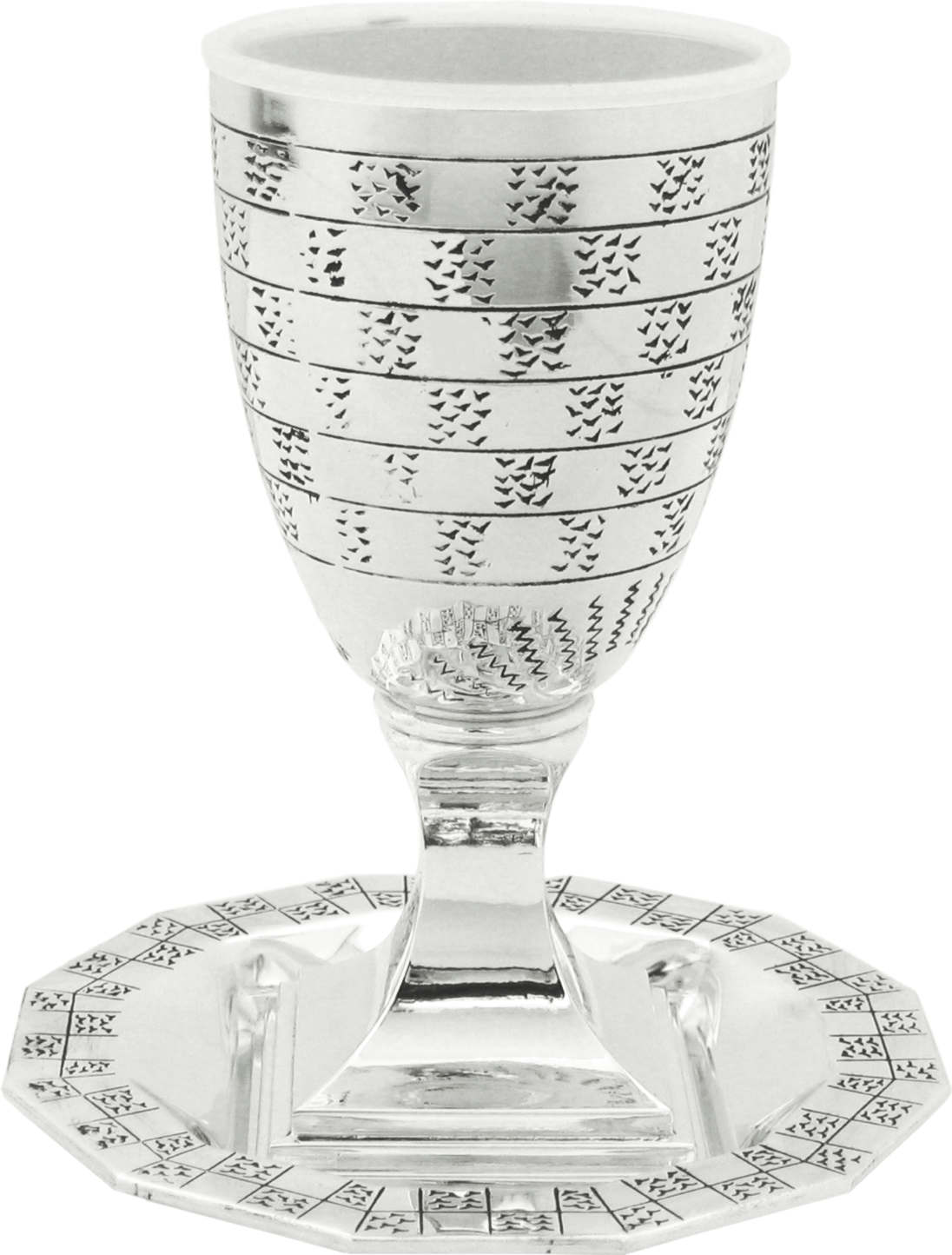Nickel Kiddush Cup With Saucer- Breslev And Nachman Motif