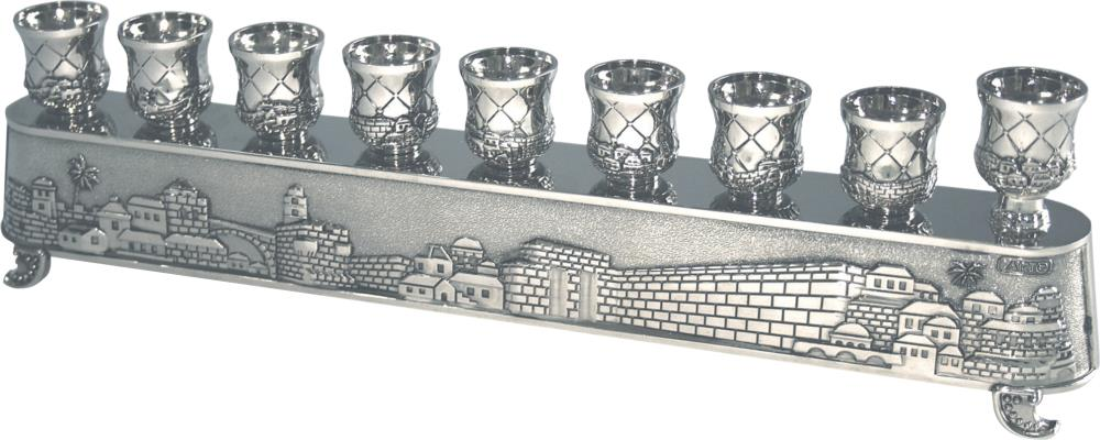 """Nickel  Art's """"magic Menorah"""" Flips Over And Used Also For Candlesticks - """"jerusalem"""" Theme 8x30 Cm"""