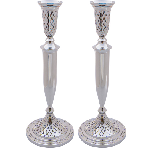 Nickel Silver Candlesticks 30cm- Diamond Design