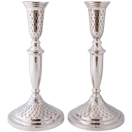 Nickel Silver Candlesticks 27cm- Diamond Design