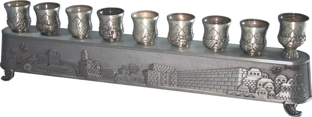 """Pewter Art's """"magic Menorah"""" Turns Over And Used Also For Candlesticks - """"jerusalem"""" Theme 8x30 Cm"""