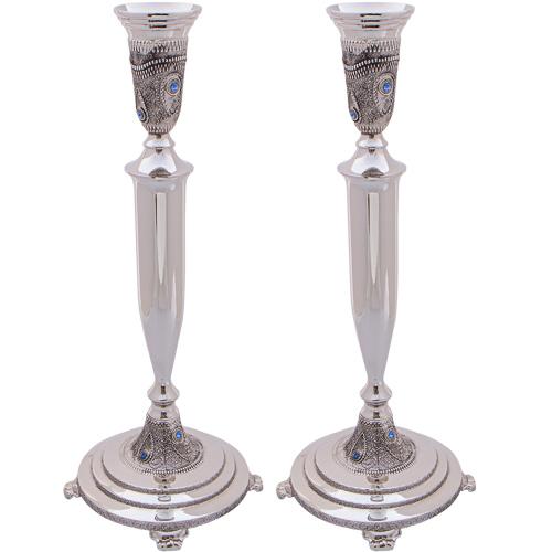 Nickel Silver Candlesticks 31 Cm- Diamond Design With Filigree And Stones