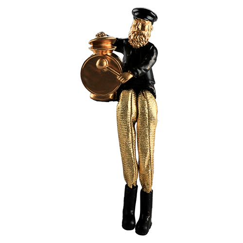 Black Polyresin Sitting Hassidic Figurine With Golden Cloth Legs 18 Cm- Drums Player