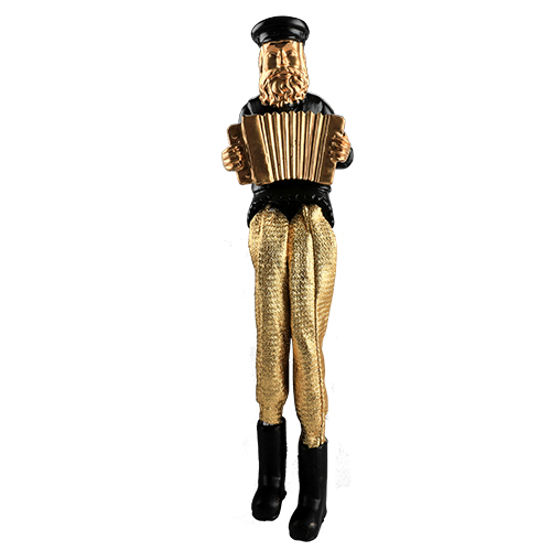 Black Polyresin Sitting Hassidic Figurine With Golden Cloth Legs 18 Cm- Accordion Player