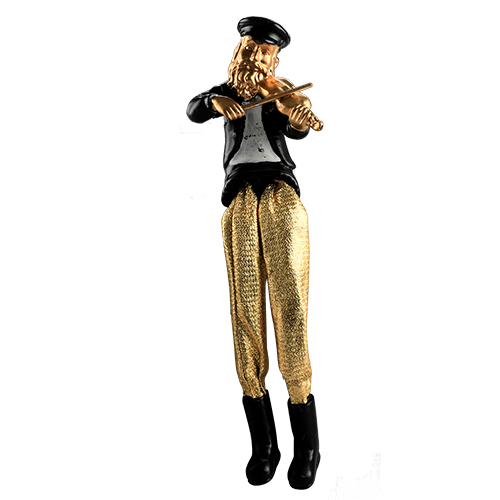 Black Polyresin Sitting Hassidic Figurine With Golden Cloth Legs 18 Cm- Fiddle Player