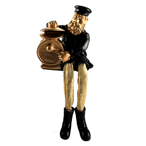 Black Polyresin Sitting Hassidic Figurine With Golden Cloth Legs 25 Cm- Drums Player