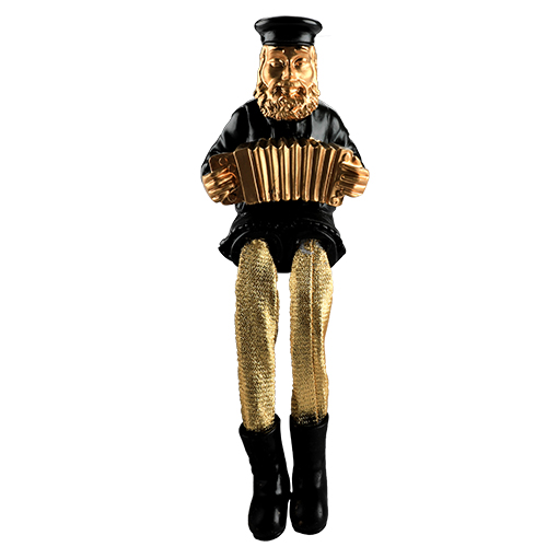 Black Polyresin Sitting Hassidic Figurine With Golden Cloth Legs 23 Cm- Accordion Player