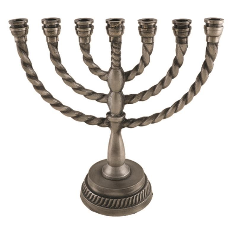 Aluminum 7 Branch Menorah 25 Cm- Pewter Finish