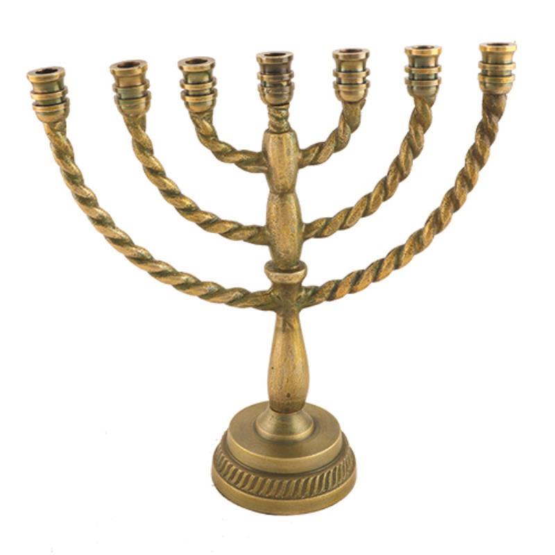 Aluminum 7 Branch Menorah 25 Cm- Brass Finish