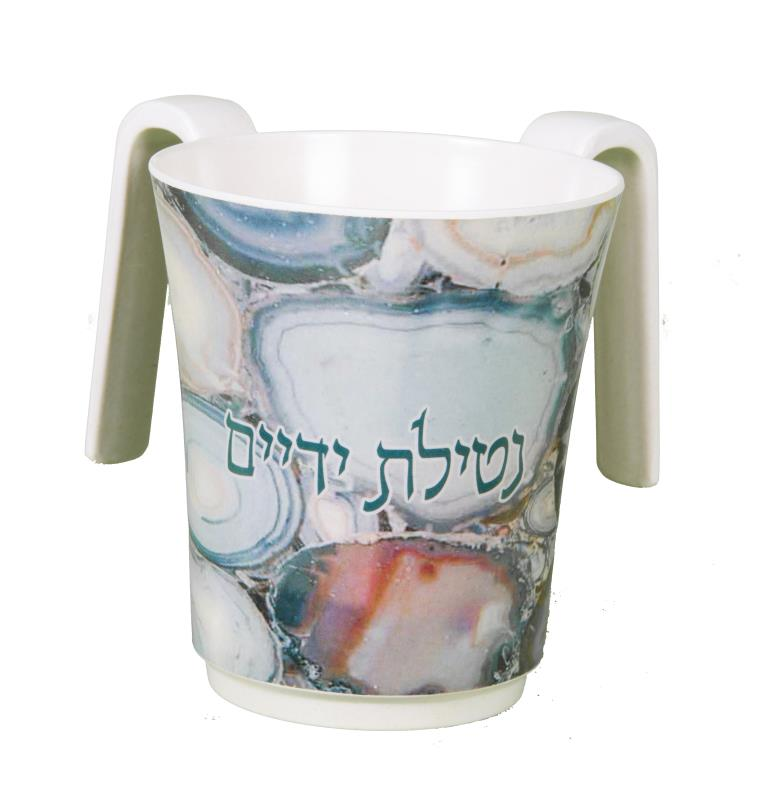 Melamine Printed Washing Cup - Colorful 14 Cm - Green & Blue