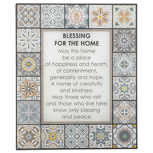 "Reinforced Glass Blessing For Wall Hanging - English ""home Blessing""  36x30 Cm"